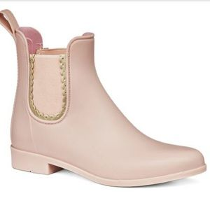 Pink Jack Rogers Ankle Rain Boots with Gold Detail